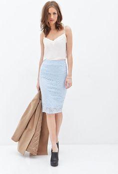 Light blue lace pencil skirt