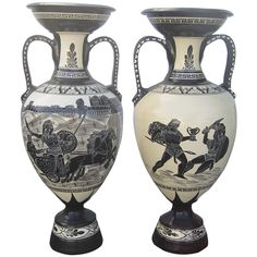 Extra Large Vases in the manner of Gio Poti for Richard Ginori, with Neo Classical, Greek Key elements, Roman Chariots and Gladiator depictions