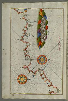 Illuminated Manuscript Map of the coast of Andalusia with the city of Grenada (Gharnātah), from Book on Navigation, Walters Art Museum Ms. W.658, fol. 261a by Walters Art Museum Illuminated Manuscripts.