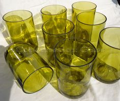 Wine Bottle Glasses made from Recycled Yellow wine bottles  by ConversationGlass
