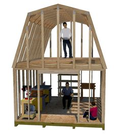 Use these 4 wide gambrel truss plans to build your 2 story shed. The distance off the loft floor up to the bottom of the truss is and is perfect for building your small cabin, work shed, or workshop. - shed plans with loft. Diy Shed Plans, Storage Shed Plans, Small Shed Plans, Shed Floor Plans, 10x12 Shed Plans, Loft Storage, Building A Shed, Building Plans, Building Ideas
