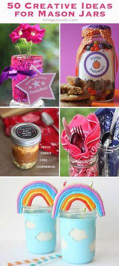 50 Ideas for Mason Jars! So many fun creative DIY gift ideas, recipes and home decorations.