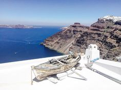 Santorini Sea view Boat photography Greece photography volcano blue wall art summer wall art island photography Fine Art Giclee or Canvas by S4StarSbySiSSy on Etsy