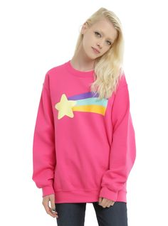 It can get cold in Cascadia, so layer up with this pullover from Disney's Gravity Falls. Styled after Mabel Pine's sweater, this pink crewneck sweatshirt features her iconic star and rainbow design on front. 50% cotton; 50% polyester Wash cold; dry low Imported Listed in junior sizes