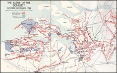 The Battle of the Scheldt October -November 194 Elements Of Drama, Family Origin, Canadian Army, Topographic Map, Historical Maps, World War Two, Planer, Ww2, Battle
