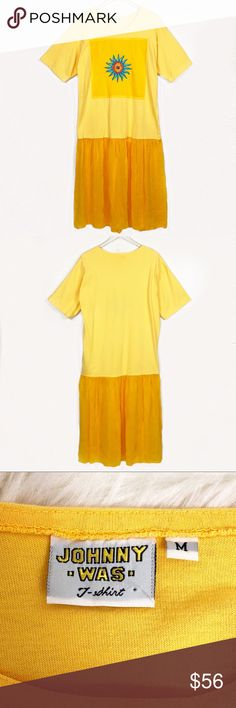 Vintage Johnny Was T-Shirt Embroidered Sun Dress Calling all of my beach lovers, festival queens, and vintage fashionistas! This yellow t-shirt dress is turned up a notch with embroidery and a flowy bottom. Look effortlessly cool in this fun vintage Johnny Was dress! Great preowned condition.  Measurements; provided as a courtesy only- not a guarantee of fit. Approximate measurements when laid flat are- Pit to Pit: 21.5in Waist: 21.5in Hips: 22in Length (T-shirt): 29in Length (total): 50.5in…