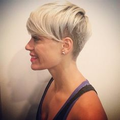 Short Shaved Hairstyles with Side Bangs