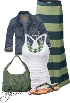 Love the idea of a plain white halter top with a chunky necklace and jean jacket