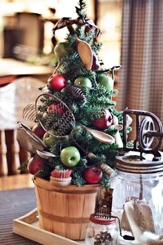 For the kitchen....utensil Christmas tree! What a neat way to incorporate Christmas into the kitchen