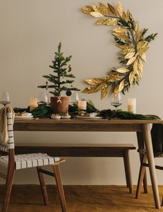 AC Homestore's Alex Walls shares her rustic Christmas style Oak Dining Table, Leather Dining Chairs, Mini Christmas Tree, Rustic Christmas, Festival Decorations, Table Decorations, Christmas Dishes, Floor Colors, Gold Paper