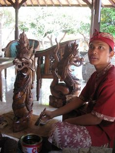 Wood carver in the village of Mas Traditional Sculptures, Gili Air, Indonesian Art, Komodo, Lombok, Balinese, Woodcarving, Tribal Art, Vintage Pictures