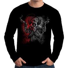 Velocitee Mens Long Sleeve T Shirt Cowboy Bandit Skeleton Wild West Biker A20290 #Velocitee
