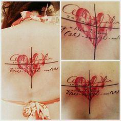 """The algebraic equation graphs the heart in the background on a line graph. Al-jabr is the Arabic word from which we derived the word Algebra. Al-jabr literally means """"the reunion of broken parts"""". This is a """"rebirth"""" tattoo."""