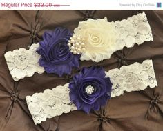 ON SALE Purple Wedding Garter, Bridal Garter Set - Ivory Lace Garter, Keepsake Garter, Toss Garter, Shabby Chiffon Purple and Ivory Wedding