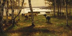 Victor Westerholm (1860-1919) Lokakuun päivä Ahvenanmaalla / An October Day in Åland 1885. Close-up.  - Finland - Finnish cows - kokoelmat.fng.fi Country Life, Golden Age, Finland, Denmark, Norway, Scandinavian, 18th, Victoria, Paintings