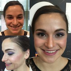Before and after makeup with light contouring.