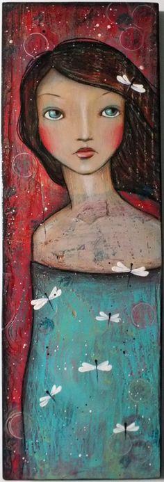 OOAK Original Folk Art Woman Dragonfly acrylic by Pennystamper,