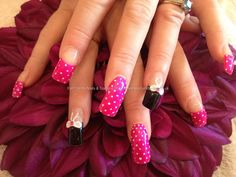 Acrylic nails with pocket dots and 3D bows  I am SO totally getting this done..  pokes Bethany
