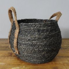Charcoal Grey Basket with Hemp Handle. Available in Natural, Charcoal, Grey and Black. Hemp, Straw Bag, Charcoal, Basket, Handle, Grey, Bedroom, Cotton, Gray