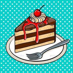 Slice of Cake on Plate Pop Art Vector Illustration