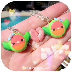 Baby lovebird friendship necklaces are back in stock! They now have glittery hearts and bows! Available here: http://www.oborocharms.com/collections/valentines/products/lovebird-friendship-necklaces