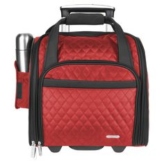 Quilted microfiber, zippered pockets and a spacious interior make this carry-on bag a great traveling companion. Additional travel accessories include a telescoping handle, wheeled base and foldable tote.