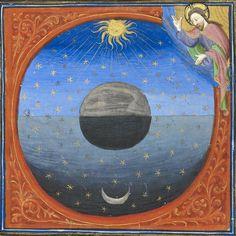 #creation of the #universeGuyart des Moulins, #Bible historiale, #Paris c. 1415 (BL, Additional 18856, fol. 5v) #illuminatedmanuscript #illumination #medieval #medievalart #art #god #stars #sun #moon #manuscript #book #middleages