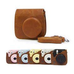 Brown Leather Camera Case Bag Cover Shoulder Bag For Fuji Fujifilm Instax Mini8