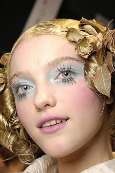 galliano gold and powder blue runway makeup and hair