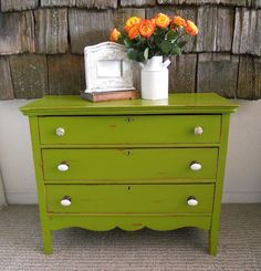 Green distressed dresser...This one might not look too Christmas-y with my red bedding.