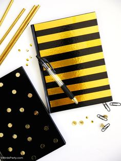 Gold foil customized DIY notebooks for back to school   BirdsParty.com