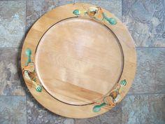 "14-Mid-Century-Vintage-Wooden-Hand-Painted-Platter-Plate-Veggies-RETRO-CHIC  14"" diameter"