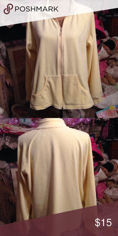 Velour jacket Beautiful buttercup yellow velour jacket. In great condition, and cozy warm without being too heavy. Perfect with jeans. Front pockets, and zip closure! Danskin Jackets & Coats Jean Jackets