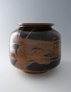 """Brother Thomas, Large jar, tenmoku with kaki glaze, 14 x 15.25 x 15.25"""""""