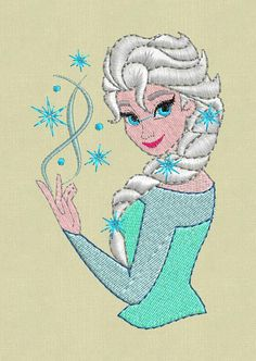 embroidery design Frozen Elsa pes jef hus files Brother