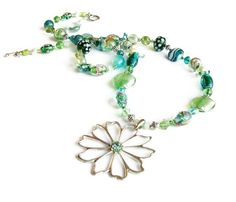 Emerald long beaded necklace aqua mint handmade by Voogs on Etsy, $52.00