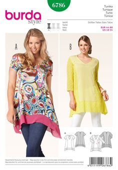 Burda Ladies Plus Size Easy Sewing Pattern 6786 Panelled Tunic Tops | Sewing | Patterns | Minerva Crafts