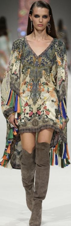 and a side order of Boho Camilla 2013 beautiful patterned caftan dress embellished tall knee high brown suede boots