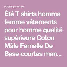 274372f58b7 Été T shirts homme femme vêtements pour homme qualité supérieure Coton Mâle  Femelle De Base courtes manches haut rigide T-shirts O-cou mocassins plats  XS- ...