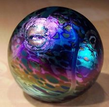 Dan Sweaney Glass Iridescent Paperweight