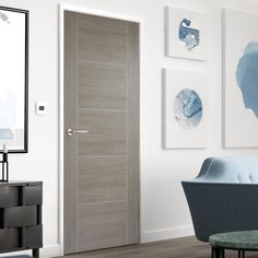 Contemporary Living and Bedroom Furniture for Stylish Homes Grey Internal Doors, Contemporary Internal Doors, Grey Doors, Contemporary Decor, Door Fittings, Black Interior Doors, Flush Doors, Mirrored Furniture, Single Doors