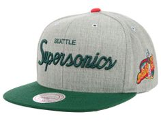 Seattle SuperSonics Mitchell and Ness NBA Special Script Road Snapback