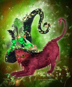 Carol Cavalaris Cats | Cat In Fancy Witch Hat 2 Mixed Media by Carol Cavalaris - Cat In Fancy ...