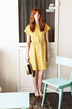 summer, yellow dress, autumn, red hair, ginger, style, fashion, bare legs