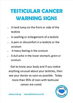 Testicular cancer, the warnings and signs.