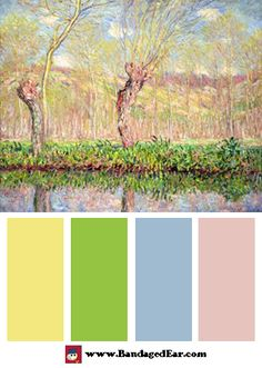 Spring Color Palette: Spring, River Bank at Epte, 1885, by Claude Monet