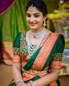Half Saree Designs, Fancy Blouse Designs, Bridal Blouse Designs, Blouse Neck Designs, Hand Work Blouse Design, Stylish Blouse Design, Indian Bridal Fashion, Indian Wedding Outfits, Wedding Saree Collection