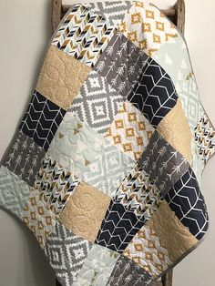 Your place to buy and sell all things handmade - Geometric Baby Quilt, Gender Neutral Bedding, Aztec Baby Quilt, Navy Mint Gold Gray Grey Baby Quilt -