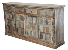 Light Distressed Indian Teak Cabinet from Terra Nova Designs by TerraNovaLA on Etsy