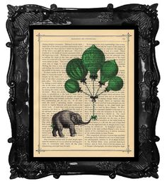 Vintage Elephant and Green Hot Air Balloons A Gift For You on an Antique 1890 Book Page Print===love this etsy store